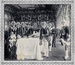 Царское село. Высочайший завтрак в Екатерининском зале Большого дворца. Открытка. ГЭ
